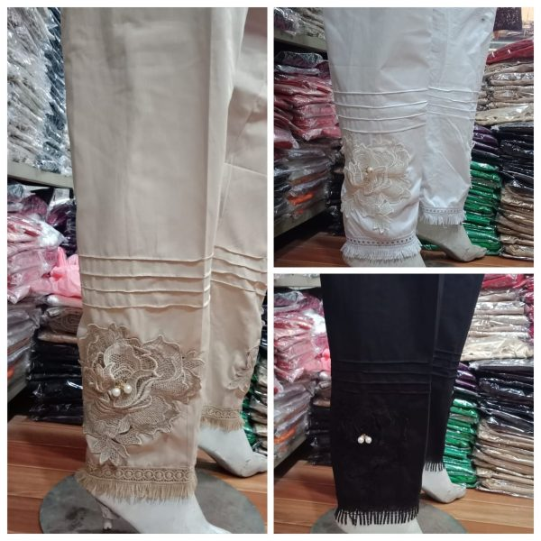 Fancy Stitched Pearls Cotton Trouser