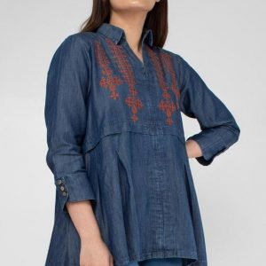 Denim New Look Embroidered Kurti