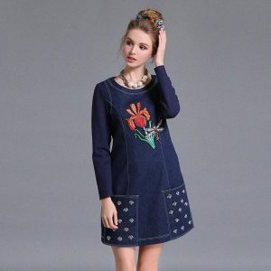 Denim Pocket Embroidered Kurti