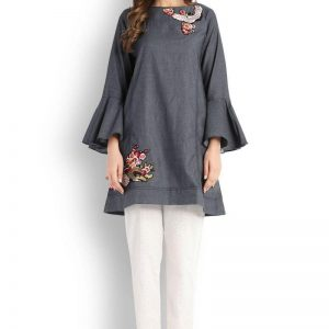 Denim Flying Bird Embroidered Kurti