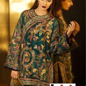 Elan Chiffon Embroidered Dress
