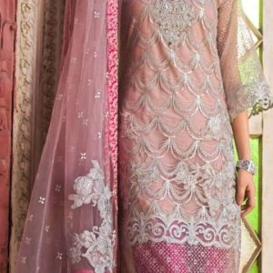 Embroidered Teal Pink Partywear