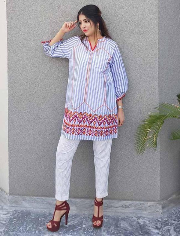 Border Line Embroidered Kurti