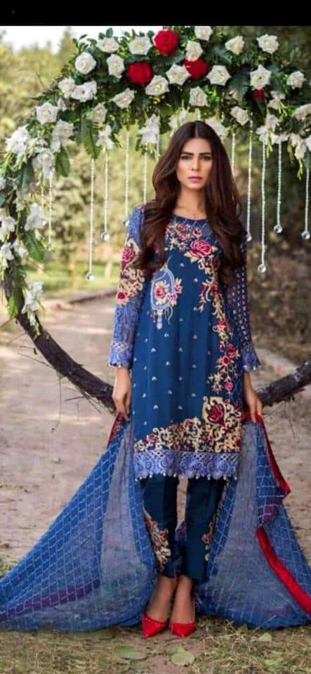 Embroidered Chiffon Party Wear
