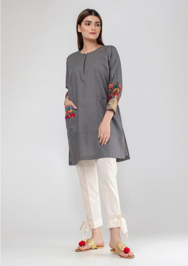 Buy Embroidered Cotton Zip Kurti