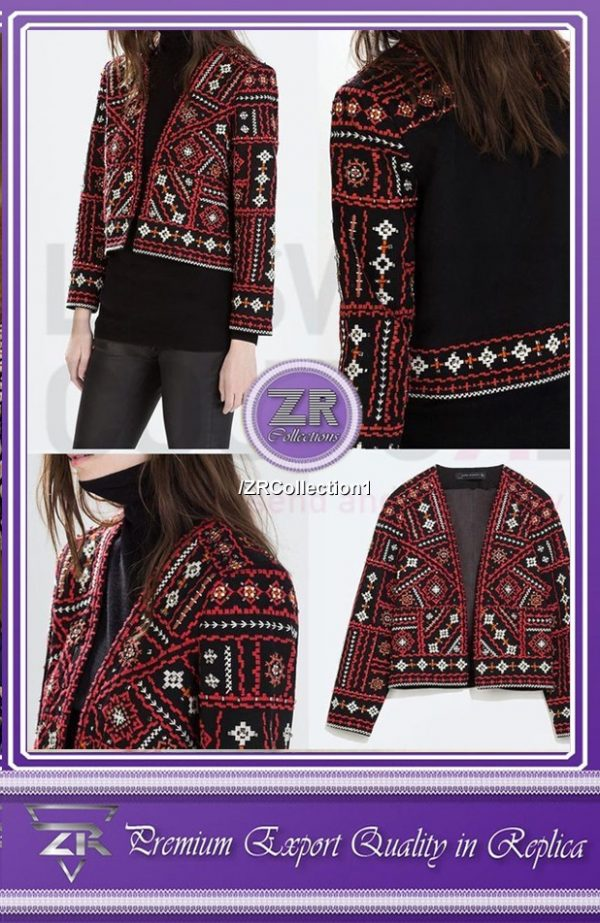 Embroidered Velvet Ajrak Coat