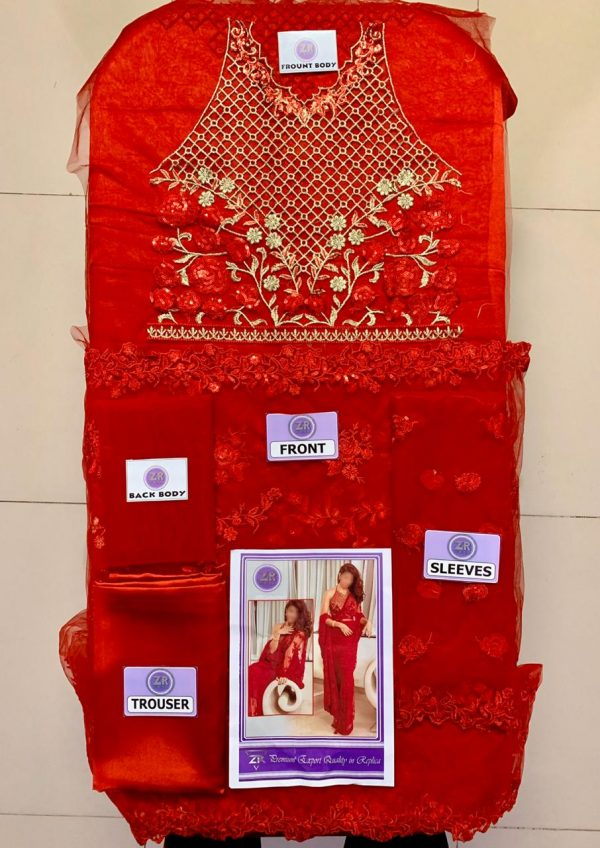 Jacqueline Embroidered Red Saree