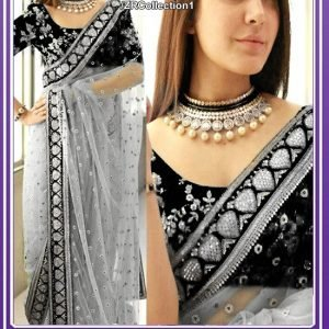 Indian Embroidered Grey Saree
